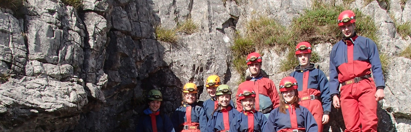 Youth group caving